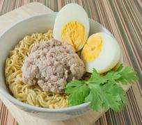Cuisine and Food, Delicious Asian Ramen Instant Noodles with Pork and Boiled Stock Photos