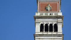 Campanile tower in Venice, Italy at San Marco square, closeup. UHD 4k tilt st Stock Footage