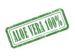Stamp aloe vera 100 percent in green Stock Illustration