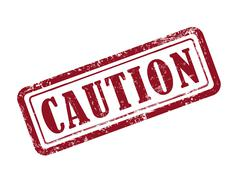 Stamp caution in red Stock Illustration