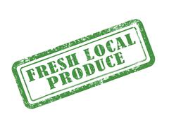 Stamp fresh local produce in green Stock Illustration