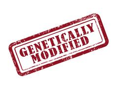 stamp genetically modified in red - stock illustration