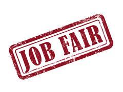 Stamp job fair in red Stock Illustration