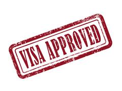 Stamp visa approved in red Stock Illustration