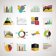 Business data analyze elements set Stock Illustration