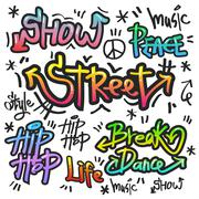 decorative street graffiti art in various color - stock illustration