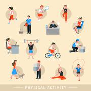 Stock Illustration of physical activity icons set