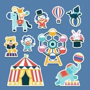 Stock Illustration of lovely circus collection set