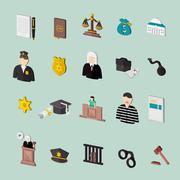 Law and judgment isometric concept icons Stock Illustration