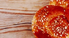 Light wheat bread topped by sesame Stock Footage
