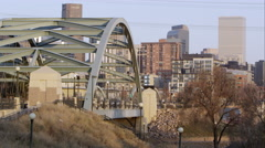 Slow Motion pan from the Platte River Bridge to the Right. Stock Footage