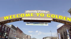Static view of the Welcome to Golden Colorado Sign. Stock Footage