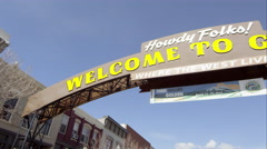 Up close wide pan to the right of the Welcome to Golden Colorado Sign. - stock footage