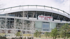 Slow motion static zoomed view of the Sports Authority stadium. Stock Footage
