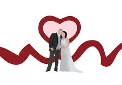 bride and groom together after the wedding ceremony - stock illustration