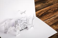 Paper cut of travel (Japan,France,Italy,New York,India,egypt) Stock Photos