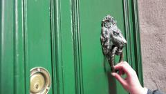 Hand Knocker Old wooden door. 4k UHD steadycam stock footage Stock Footage