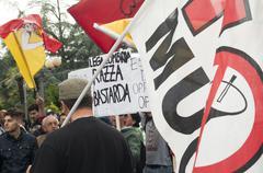 Protesters greet Lega Nord's Matteo Salvini in San Giovanni La Punt - stock photo