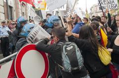 Protesters greet Lega Nord's Matteo Salvini in San Giovanni La Punta - stock photo