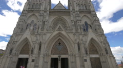 The main entrance to the Basilica of the National Vow in Ecuador Stock Footage