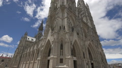 Gothic architecture at the Basilica of the National Vow in Ecuador Stock Footage