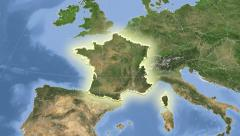 France on maps. Neighbourhood. Set of animations. Stock Footage