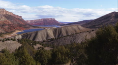 Panning view of the landscape looking toward Flaming Gorge in Utah. Stock Footage