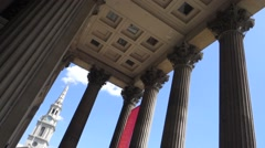 Tilt shot of the National Gallery and St Martin in the Field in Central London Stock Footage