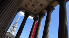 The National Gallery and St Martin in the Field Church in London Stock Footage