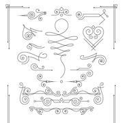 Vector set of elegant curls and swirls. Elements for design - stock illustration