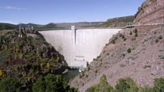 Static view of the Flaming Gorge Dam from down stream. Stock Footage