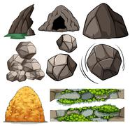 Rocks and cave Stock Illustration