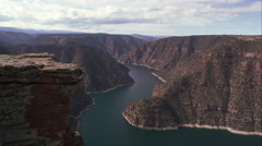 Downward panning view of Flaming Gorge from Red Canyon overlook. Stock Footage