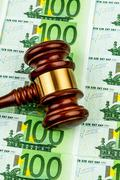 Gavel and euro banknotes Stock Photos