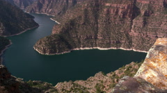 Slow pan of Flaming Gorge from right to left at Red Canyon overlook. Stock Footage