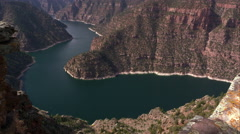 Pan from Flaming Gorge to the skyline at Red Canyon overlook. Stock Footage