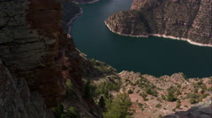 Upward panning view of Flaming Gorge from Red Canyon overlook. Stock Footage