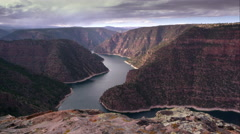 Wide dolly shot overlooking Flaming Gorge from Red Canyon overlook. Stock Footage