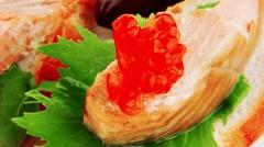 Small salmon sandwiches Stock Footage