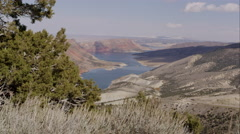 Dolly shot overlooking Flaming Gorge in the distance. Stock Footage