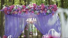 Festive wedding ceremony decoration Stock Footage