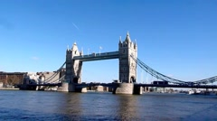 Wide angle of Tower Bridge in London United Kingdom Stock Footage