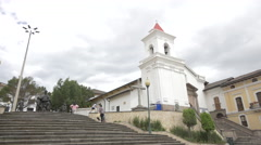 The church of Plaza San Blas in Quito Stock Footage