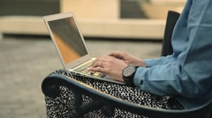 Female journalist hands typing on notebook - stock footage