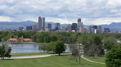 Denver Skyline from City Park - stock footage