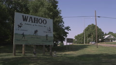 Stock Video Footage of Wahoo, Nebraska Sign