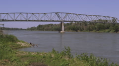 Static view of bridge over the Missouri River. Stock Footage