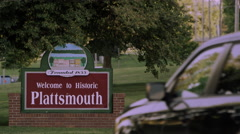 Static view of the Welcome to Historic Plattsmouth sign. Stock Footage