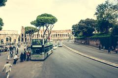 bus near Coliseum - stock photo