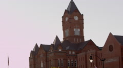 Downward panning view of the Cass County Courthouse. Stock Footage